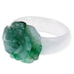 GIA Certified Natural Jadeite Jade Green White Flower Cocktail Ring