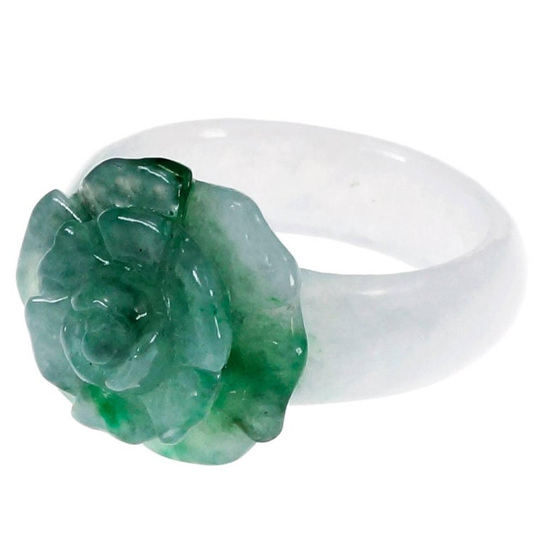 GIA Certified Natural Jadeite Jade Green White Flower Cocktail Ring