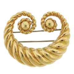 David Webb Gold Scroll Brooch Pin