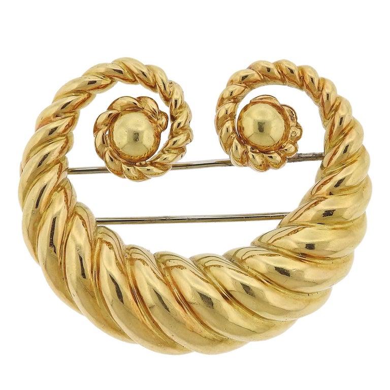 David Webb Gold Scroll Brooch Pin