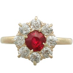1930s Ruby and Diamond Yellow Gold Cluster Ring