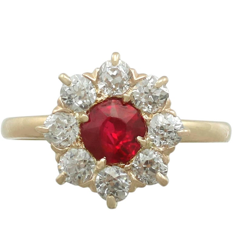 1930s Ruby and Diamond Yellow Gold Cluster Ring For Sale