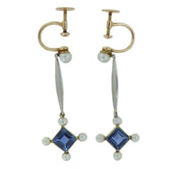 Edwardian Drop Earrings with Sapphire and Seed Pearl