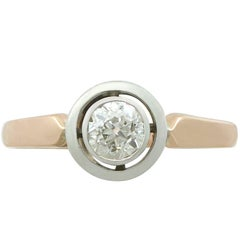 1920s Antique Diamond and Yellow Gold and White Gold Solitaire Ring