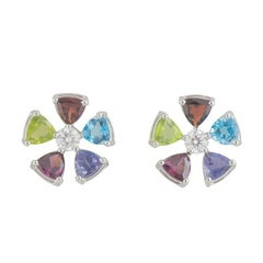 GIA Certified Multi Gemstone and Diamond Earrings