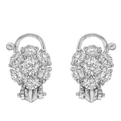 Van Cleef & Arpels Platinum Diamond Flower Cluster Earclips