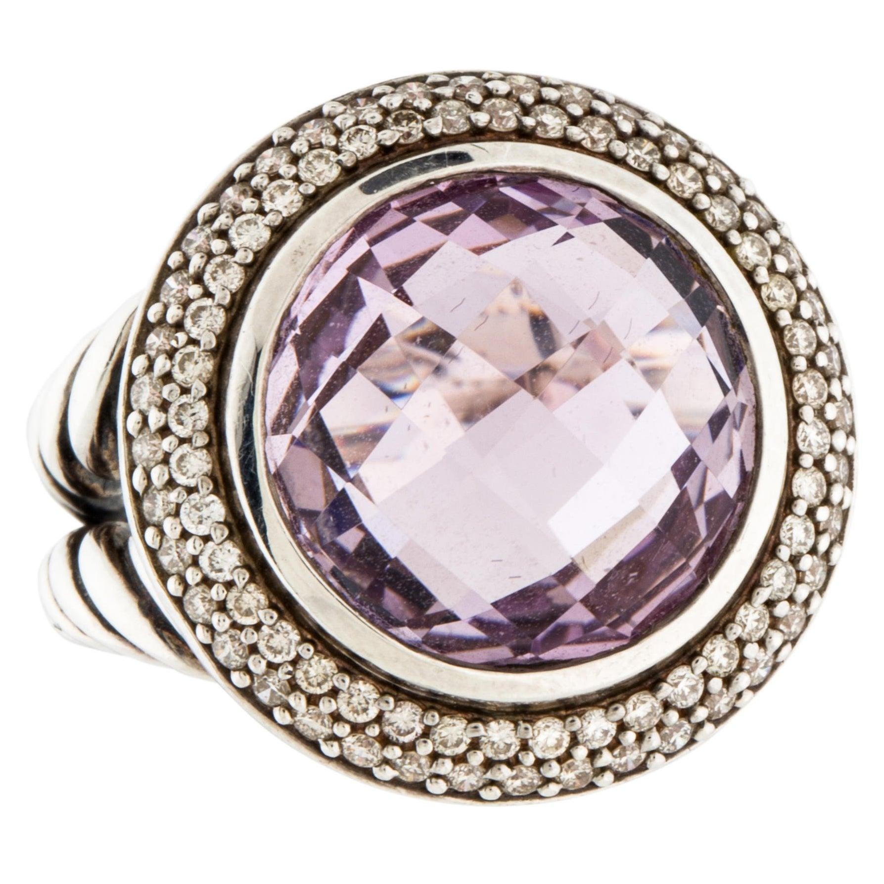 David Yurman Amethyst Diamond Sterling Cerise Ring