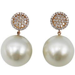 South Sea Cultured Pearl and Diamond Pendant Earrings
