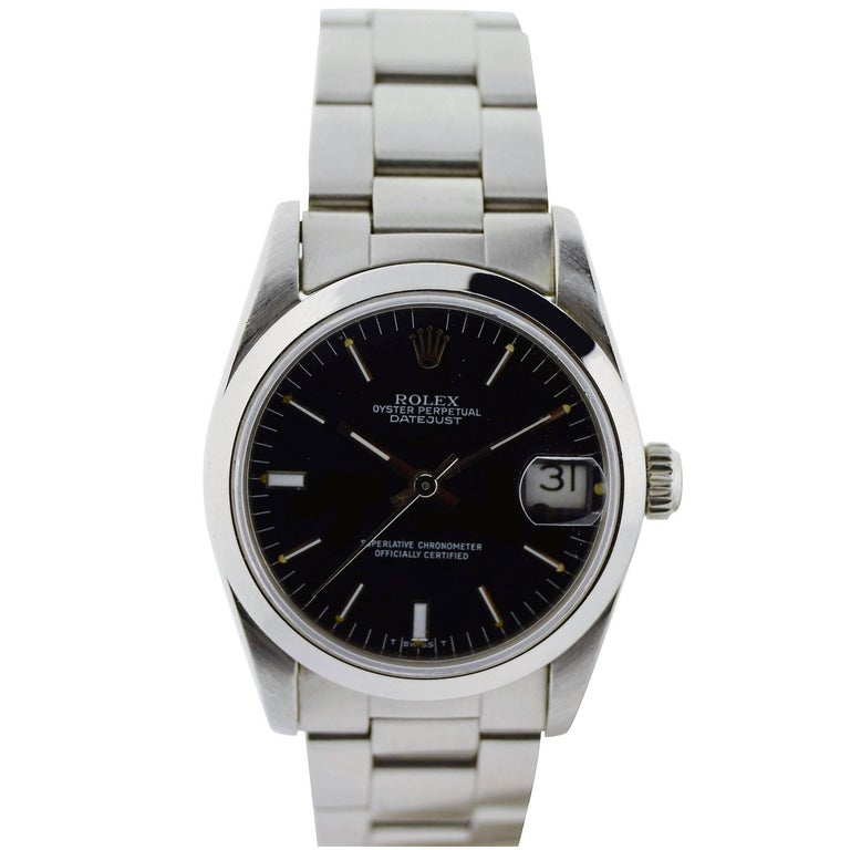 Rolex Stainless Steel Midsize Oyster Perpetual Datejust Watch For Sale