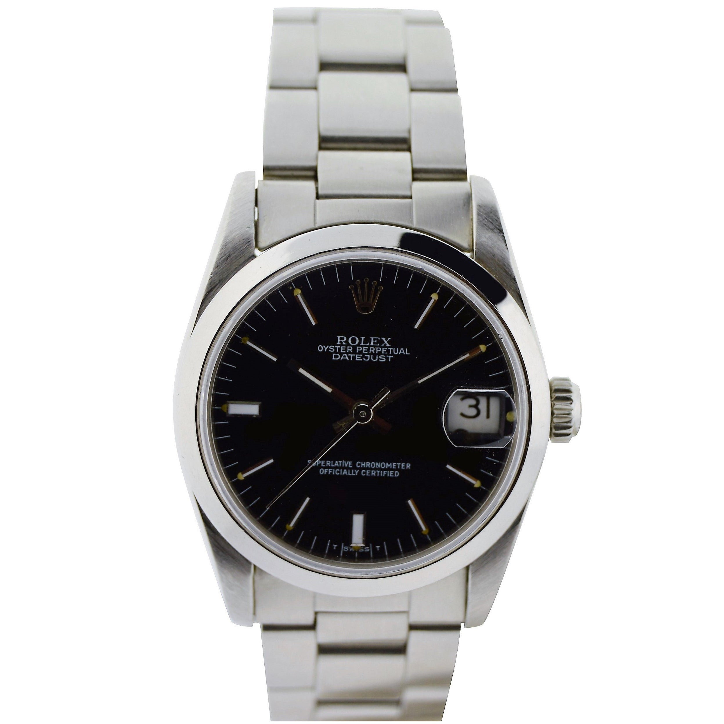 Rolex Stainless Steel Midsize Oyster Perpetual Datejust Watch