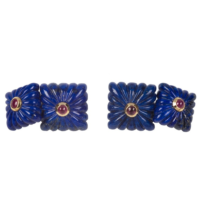 Double Square Cufflinks in Lapis Lazuli and Ruby