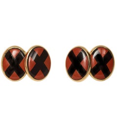 18 Karat Yellow Gold Double Cross Jasper and Onyx Cufflinks