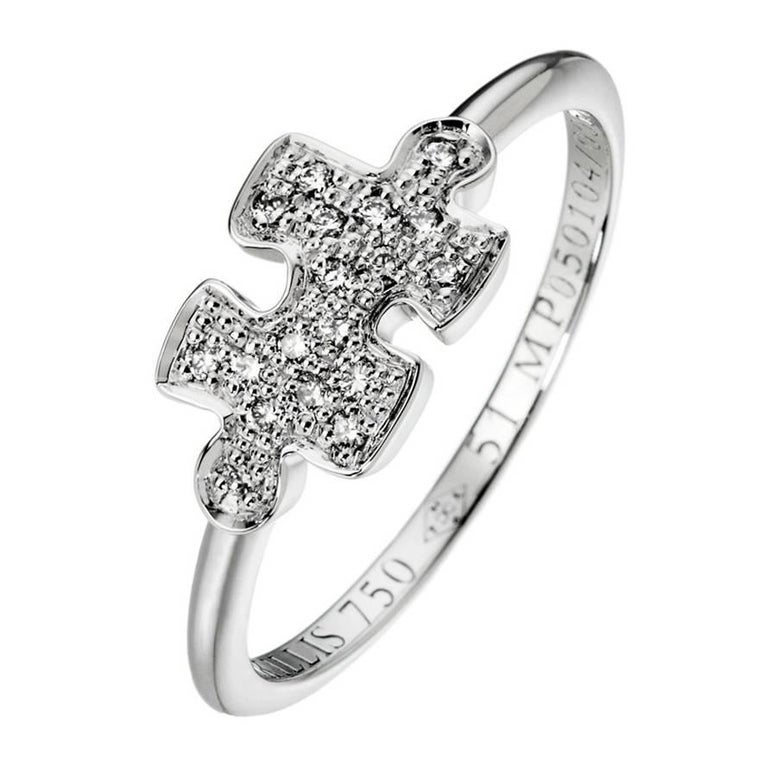 Akillis Mini Puzzle Ring 18 Karat White Gold White Diamonds For Sale