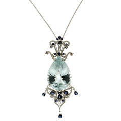 Aquamarine White Gold Diamonds Pendant Necklace