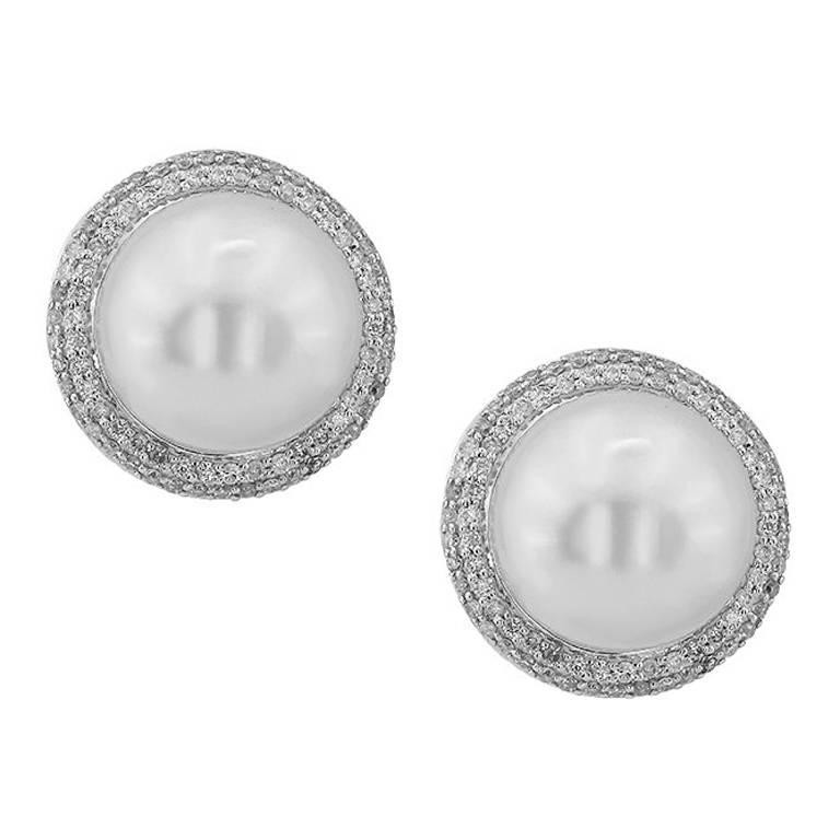 White Gold South Sea Pearl With Brilliant Cut Diamonds Earrings