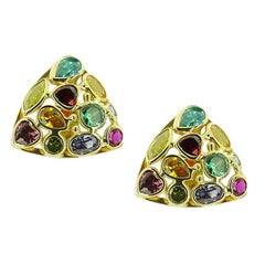 Yellow Gold Triangular with Multicolored Stones Earrings