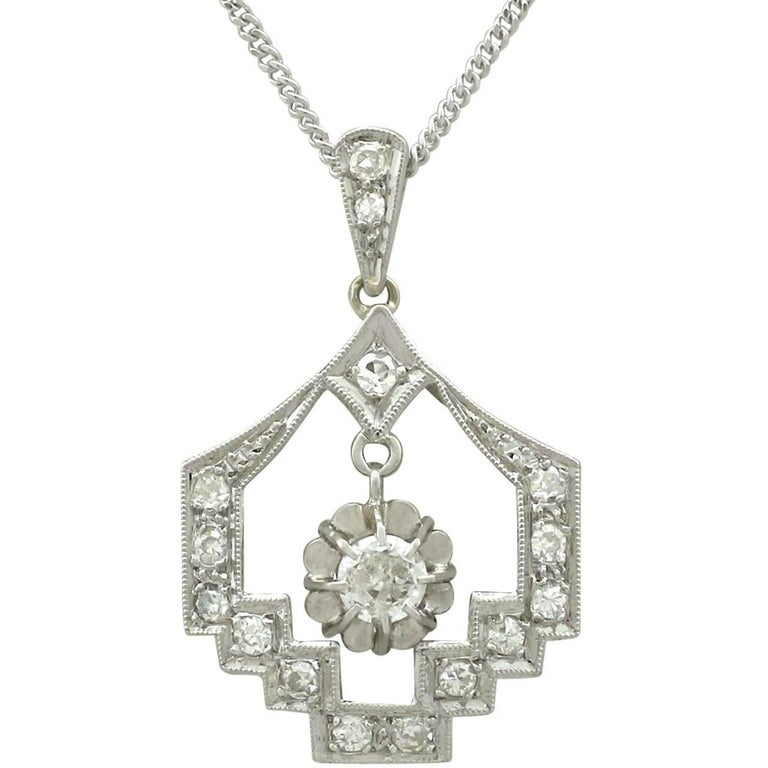 1920s Art Deco Diamond and Platinum Pendant
