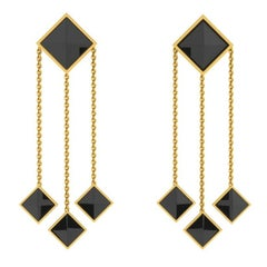 Ferrucci Black Onyx Pyramid Dangling 18 Karat Yellow Gold Earrings