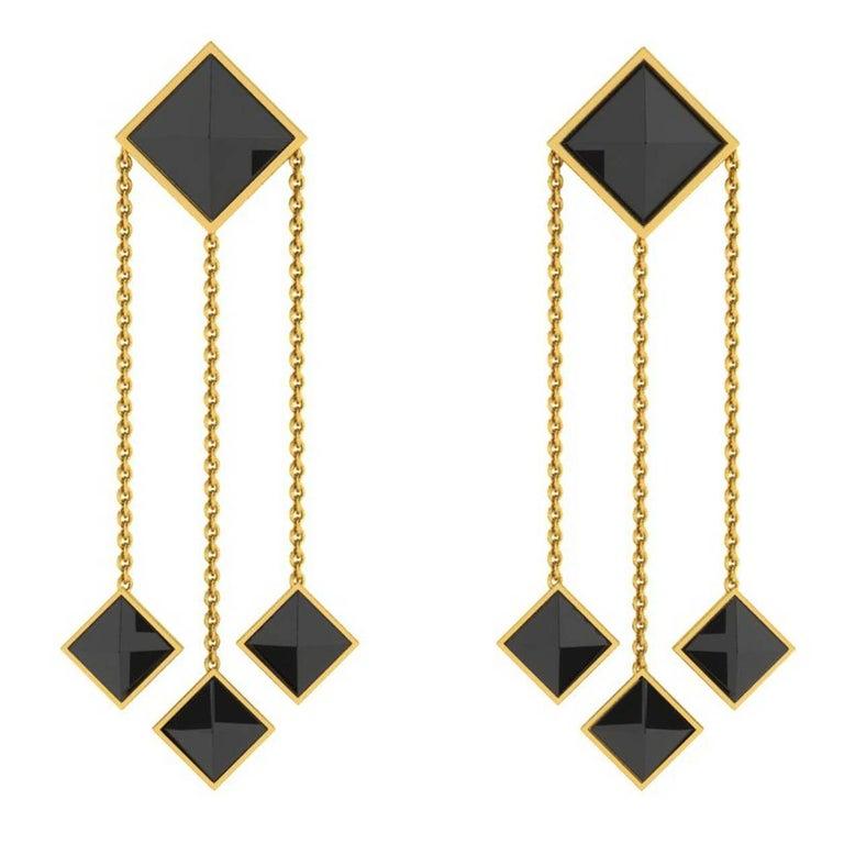 Ferrucci Black Onyx Pyramid Dangling 18 Karat Yellow Gold Earrings