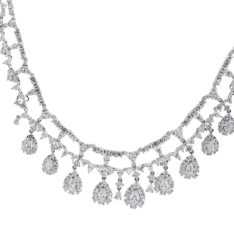 Pear Shape and Round Brilliant Diamond Necklace