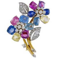 Cartier Diamond and Multi-Color Sapphire Brooch