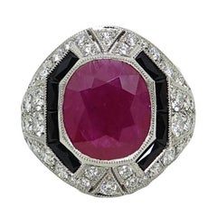 5.72 Cushion Cut Ruby, Black Onyx and Diamond Platinum Ring