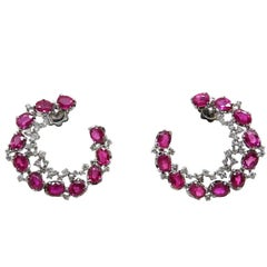 8.53 Carat Ruby and Diamond Half Moon Shaped White Gold Earrings
