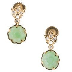 GIA Certified Natural Carved Jadeite Jade Diamond Flower Dangle Earrings