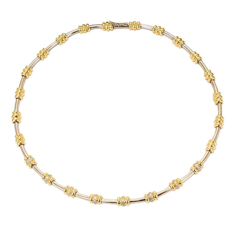 Italian Diamond Gold Tubular Necklace