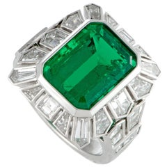 Tapered Diamond Baguette and Emerald Platinum Ring