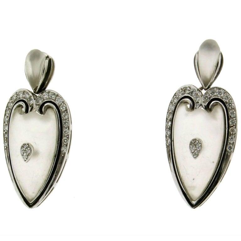 Rock Crystal White Gold Diamonds Drop Earrings