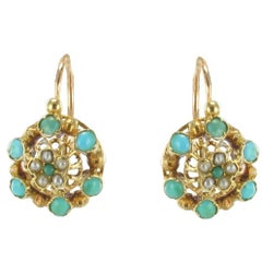 French Napoleon Three Turquoise Natural Pearl Drop Earrings