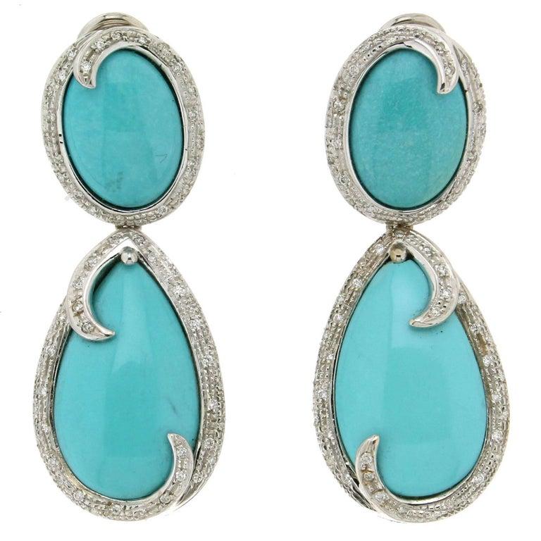 Turquoise White Gold Diamonds Drop Earrings