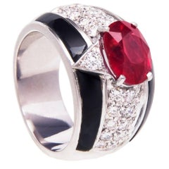 Ella Gafter Ruby Diamond Onyx White Gold Cocktail Ring