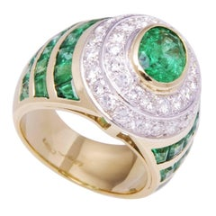 Ella Gafter Emerald Diamond Dome Cocktail Ring