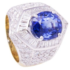 Ella Gafter Blue Ceylon Sapphire and Diamond White Yellow Gold Cocktail Ring