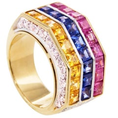 Ella Gafter Blue Pink Yellow Sapphire Diamond White Yellow Gold Cocktail Ring