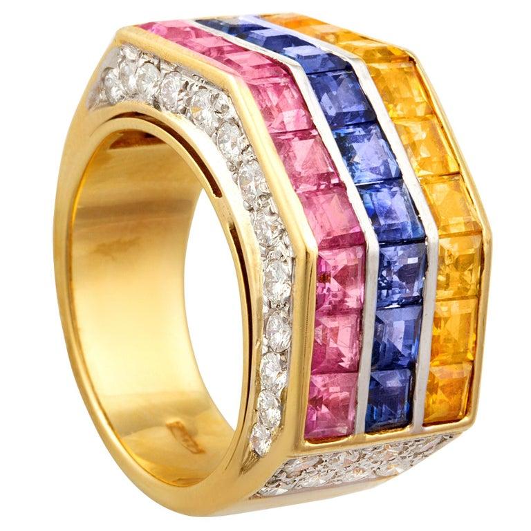 Ella Gafter Multicolor Sapphire Diamond Cocktail Ring