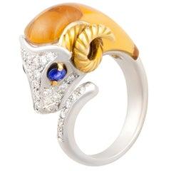 Ella Gafter Diamond Ram Ring with Blue Sapphire