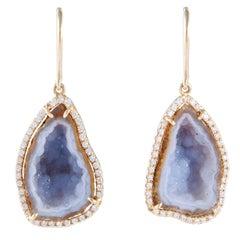 Karolin Rose Gold White Diamond Pavé Hook Agate Geode Earrings