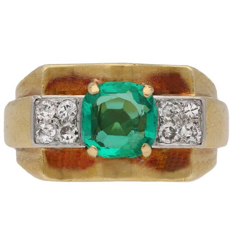 Chaumet Emerald and Diamond Dress Ring, French, circa 1940