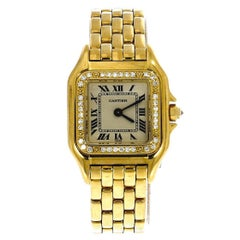 Cartier Ladies Yellow Gold Diamond White Dial Panthere Automatic Wristwatch