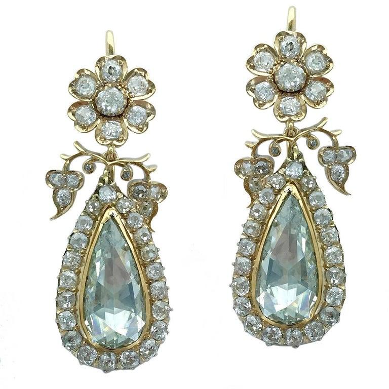 Impressive Antique Rose Cut Pear Shape Diamond Flower Earrings Pendant