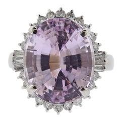 Kunzite Diamond Platinum Ring
