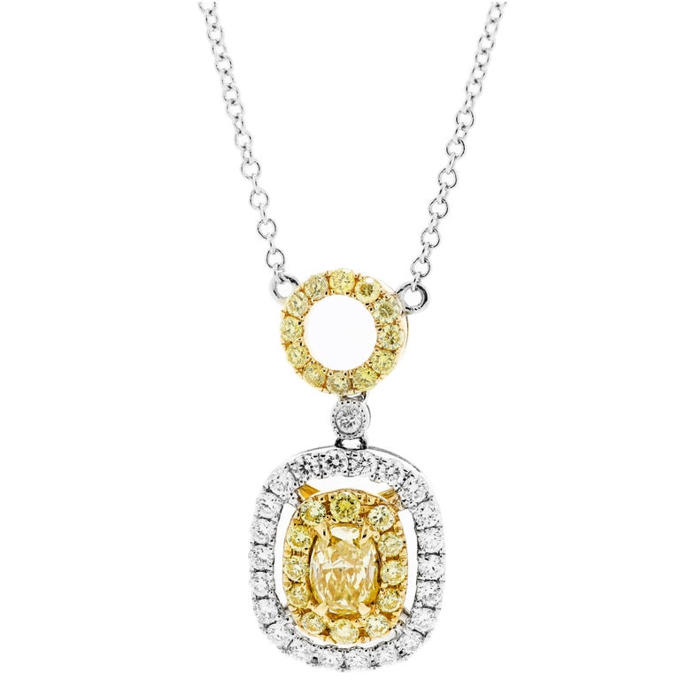 Natural Fancy Yellow Diamond Double Halo Two-Color Gold Necklace