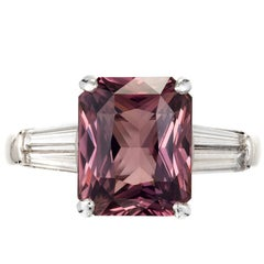 Peter Suchy 6.34 Carat Pink Sapphire Diamond Platinum Engagement Ring