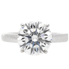 GIA Certified 'D, VS2' 4.00 Carat Round-Brilliant Cut Engagement Ring