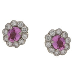 Pink Sapphire Diamond Cluster Stud Earrings