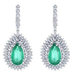 13.20 Carat Emerald and Diamond Drop Earrings