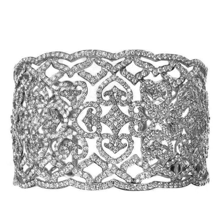 9.25 Carat Diamond Cuff Bracelet in 18 Karat White Gold